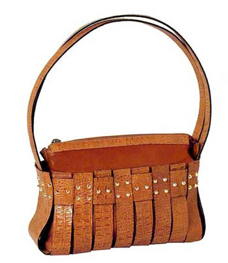 Brown crocodile leather handbag
