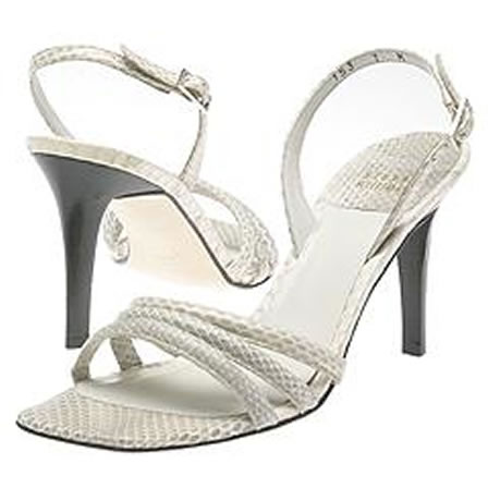 White snakeskin leather shoes